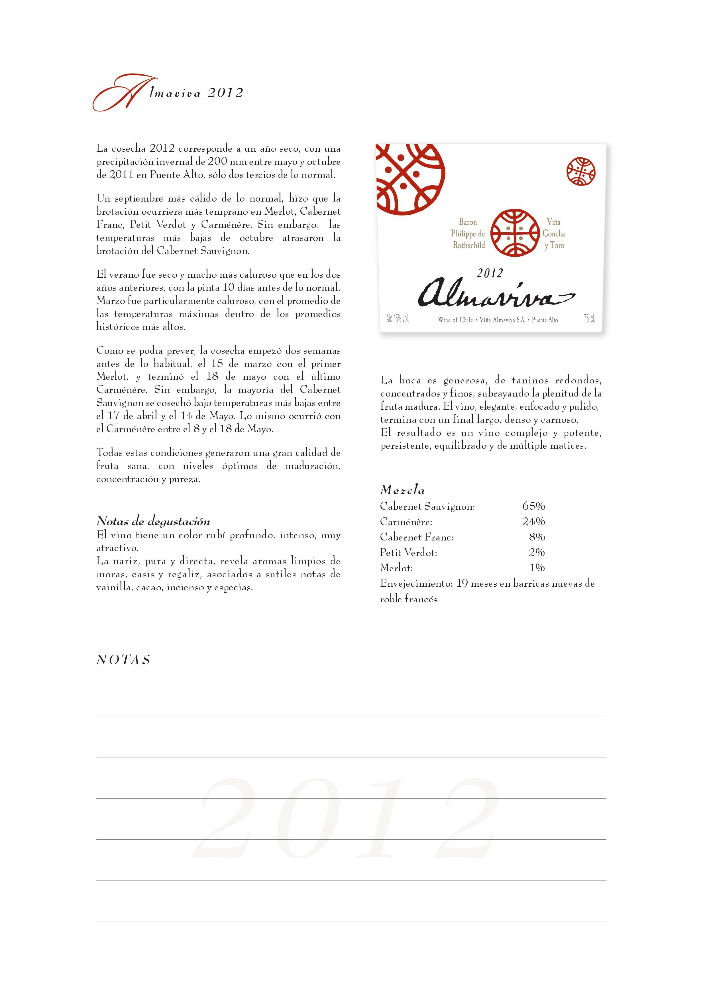 Almaviva - 2012 是一款年輕的紅葡萄酒,濃郁的香氣從杯中散發出來,從黑色水果擴展到香料,果仁和鐵質礦石的味道。如同Puente Alto葡萄園的炎熱下午一樣,葡萄酒同樣帶一點乾旱塵土的感覺。酒體飽滿,單寧異常的細緻,餘味帶一點黏土,葡萄乾和黑莓的風味。質感非常細緻,典型的波爾多混釀,於2017飲用更佳。