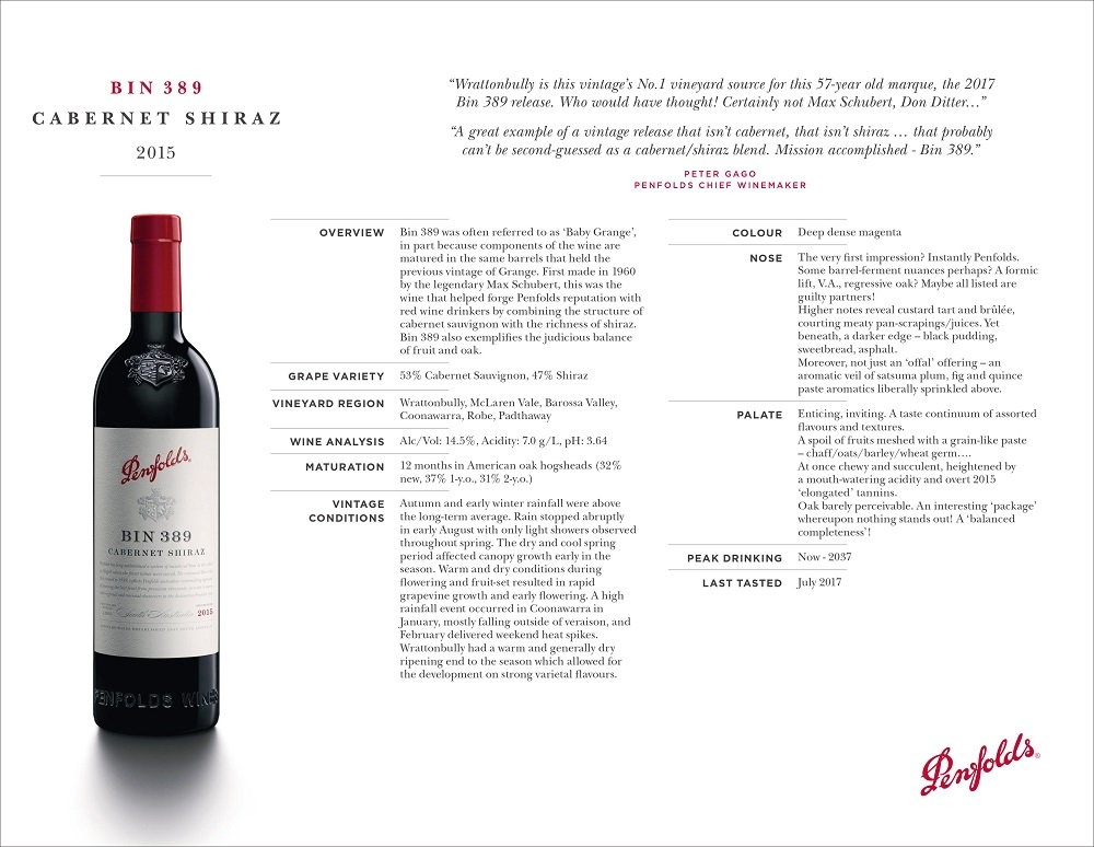 """B I N 3 8 9 CABERNET SHIRAZ 2015 """"Wrattonbully is this vintage's No.1 vineyard source for this 57-year old marque, the 2017 Bin 389 release. Who would have thought! Certainly not Max Schubert, Don Ditter…"""" """"A great example of a vintage release that isn't cabernet, that isn't shiraz … that probably can't be second-guessed as a cabernet/shiraz blend. Mission accomplished - Bin 389."""" PETER GAGO PENFOLDS CHIEF WINEMAKER OVERVIEW Bin 389 was often referred to as 'Baby Grange', in part because components of the wine are matured in the same barrels that held the previous vintage of Grange. First made in 1960 by the legendary Max Schubert, this was the wine that helped forge Penfolds reputation with red wine drinkers by combining the structure of cabernet sauvignon with the richness of shiraz. Bin 389 also exemplifies the judicious balance of fruit and oak. GRAPE VARIETY 53% Cabernet Sauvignon, 47% Shiraz VINEYARD REGION Wrattonbully, McLaren Vale, Barossa Valley, Coonawarra, Robe, Padthaway WINE ANALYSIS Alc/Vol: 14.5%, Acidity: 7.0 g/L, pH: 3.64 MATURATION 12 months in American oak hogsheads (32% new, 37% 1-y.o., 31% 2-y.o.) VINTAGE CONDITIONS Autumn and early winter rainfall were above the long-term average. Rain stopped abruptly in early August with only light showers observed throughout spring. The dry and cool spring period affected canopy growth early in the season. Warm and dry conditions during flowering and fruit-set resulted in rapid grapevine growth and early flowering. A high rainfall event occurred in Coonawarra in January, mostly falling outside of veraison, and February delivered weekend heat spikes. Wrattonbully had a warm and generally dry ripening end to the season which allowed for the development on strong varietal flavours. COLOUR Deep dense magenta NOSE The very first impression? Instantly Penfolds. Some barrel-ferment nuances perhaps? A formic lift, V.A., regressive oak? Maybe all listed are guilty partners! Higher notes reveal custard tart and brûlé"""