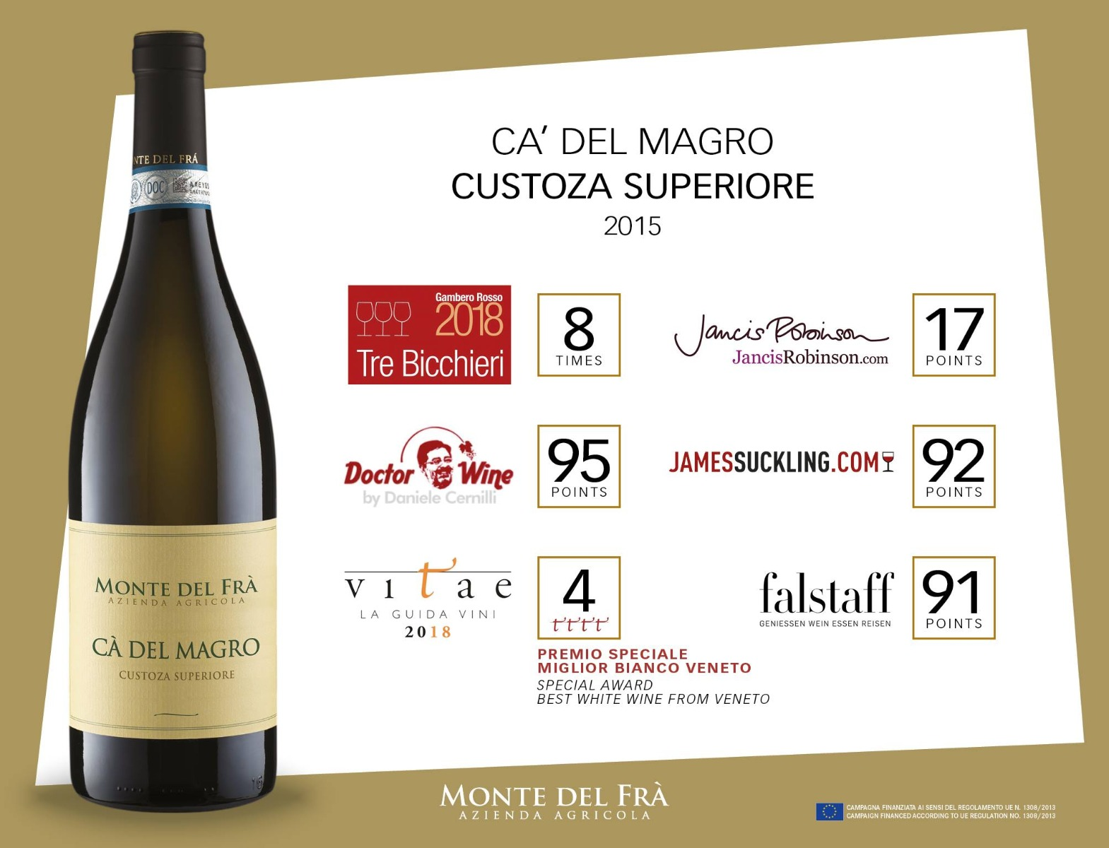 Monte Del Fra Ca' Del Magro Custoza Superiore Doc White Wine 2015 750ml
