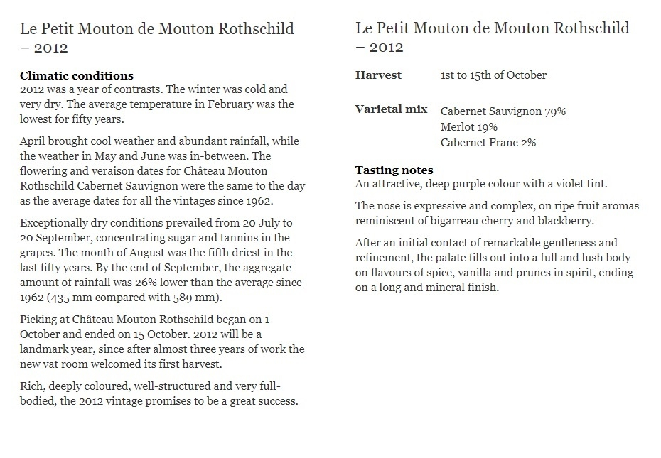 Le Petit Mouton de Mouton Rothschild – 2012
