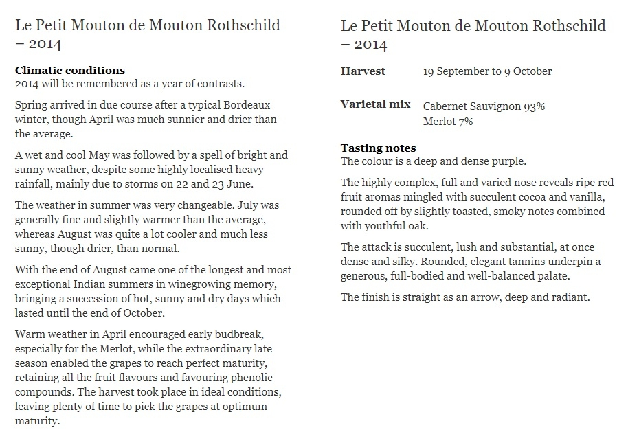 Le Petit Mouton de Mouton Rothschild – 2012  Climatic conditions 2014 will be remembered as a year of contrasts.  Spring arrived in due course aft</div> </div> </div>                          <div class=