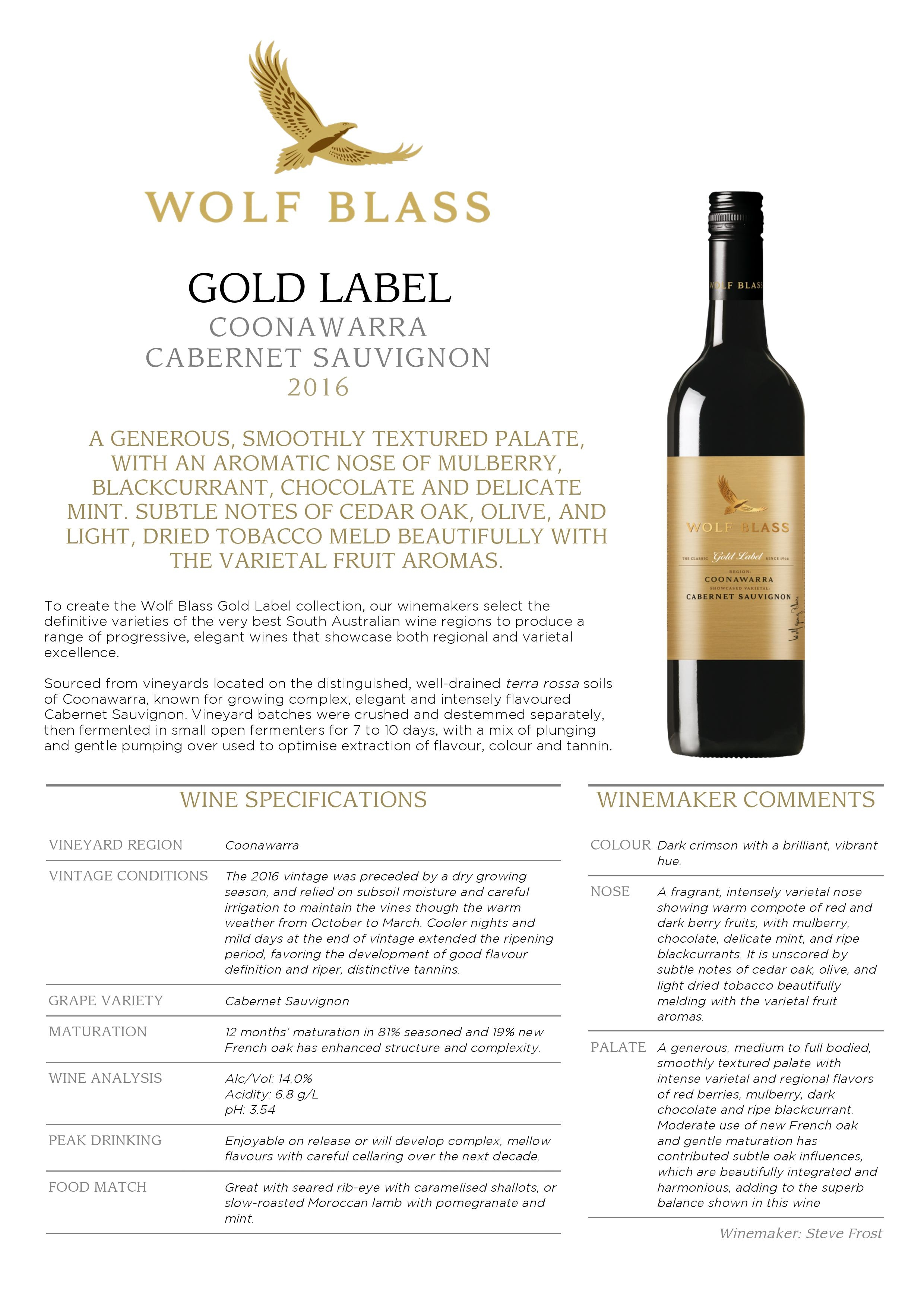 GOLD LABEL COONAWARRA CABERNET SAUVIGNON 2016 A GENEROUS, SMOOTHLY TEXTURED PALATE, WITH AN AROMATIC NOSE OF MULBERRY, BLACKCURRANT, CHOCOLATE AND DELICATE MINT. SUBTLE NOTES OF CEDAR OAK, OLIV</div> </div> 						</div> 											                         <div class=